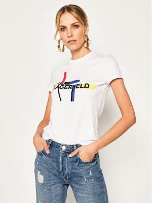 KARL LAGERFELD T-Shirt Bauhaus Logo 201W1719 Biały Regular Fit
