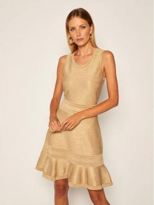MICHAEL Michael Kors Sukienka koktajlowa MU08ZUCBVC Złoty Regular Fit