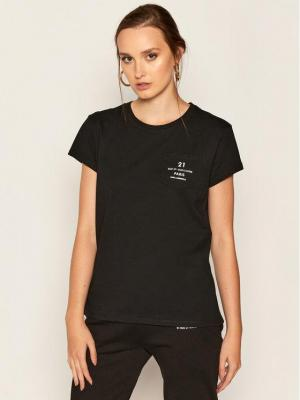 KARL LAGERFELD T-Shirt Address Logo Pocket 205W1721 Czarny Regular Fit