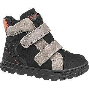 Czarno-szare kozaczki chłopięce Bobbi-Shoes zapinane na rzepy