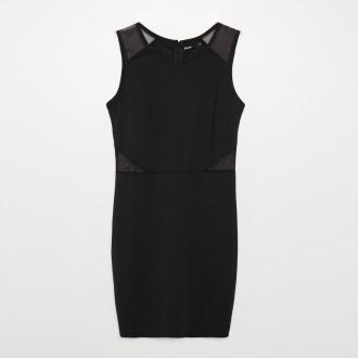 Cropp - Sukienka z siateczką - Czarny