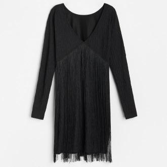 Reserved - Sukienka z frędzlami - Czarny