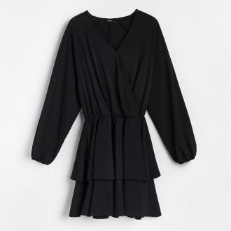 Reserved - Kopertowa sukienka mini - Czarny