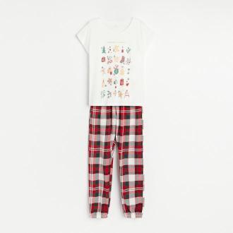 Reserved - Dwuczęściowa piżama ze świątecznym nadrukiem - Kremowy