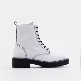 Mohito - Sznurowane botki na platformie - Biały