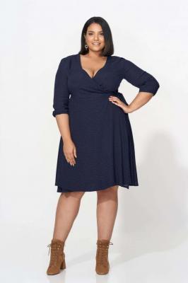 ALLISA NAVY wiązana sukienka plus size w groszki : size - 60/62