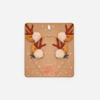 Cropp - Świąteczna opaska ze spinkami - Brązowy