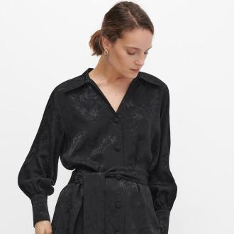 Reserved - Wiązana koszula z motywem kwiatowym - Czarny