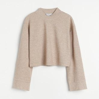 Reserved - Dzianinowa bluzka ze stójką - Beżowy