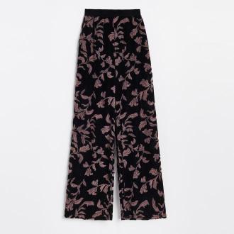 Reserved - Szerokie spodnie z autorskim wzorem - Wielobarwny