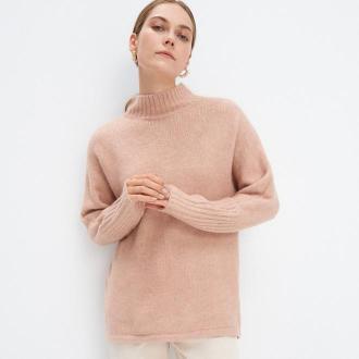 Mohito - Dzianinowy sweter z półgolfem - Różowy