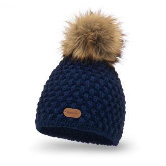 Zimowa czapka damska z pomponem