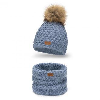 Zimowy komplet damski, czapka i komin