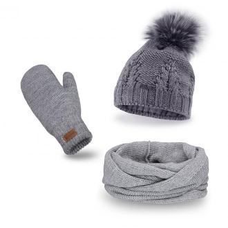 Jasnoszary komplet damski, czapka z pomponem komin i rękawiczki