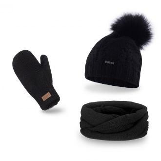Czarny komplet damski, czapka z pomponem komin i rękawiczki