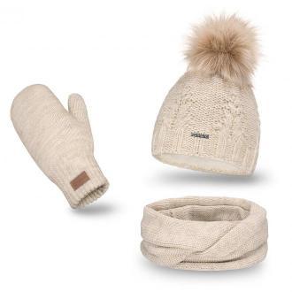 Beżowy komplet damski, czapka z pomponem komin i rękawiczki