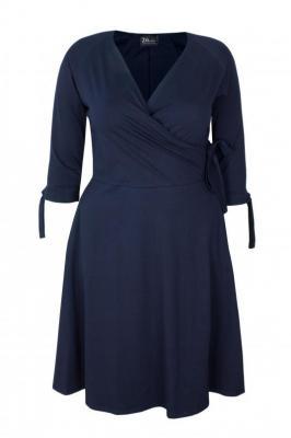 MIKA NAVY rozkloszowana sukienka plus size : size - 44