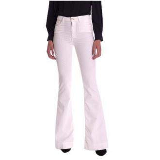 Trussardi Jeans Velvet Pants Stretch NEW Bell Flared Spodnie Różowy