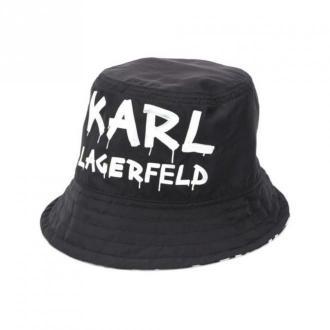 Karl Lagerfeld HAT z logo odwracalny Akcesoria Czarny Dorośli Kobiety