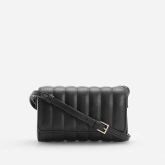 Reserved - Pikowana torebka na regulowanym pasku - Czarny