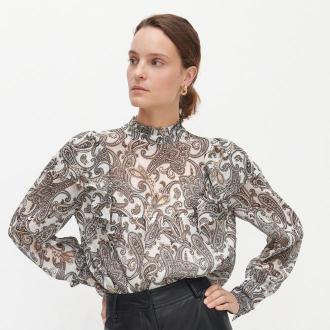 Reserved - Wzorzysta bluzka ze stójką - Kremowy