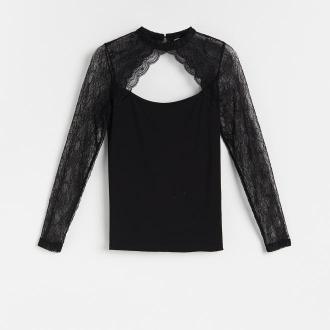 Reserved - Bluzka z łączonych materiałów - Czarny