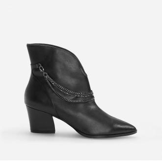 Reserved - Botki w kowbojskim stylu z łańcuchami - Czarny