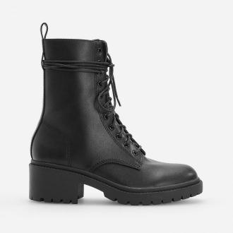 Reserved - Wiązane botki na średnim obcasie - Czarny