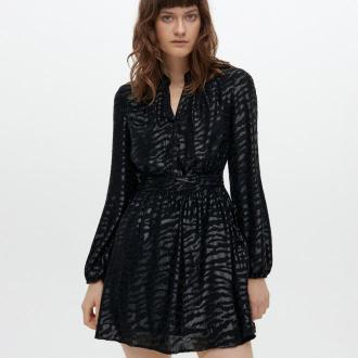 Reserved - Żakardowa sukienka ze wzorem - Czarny