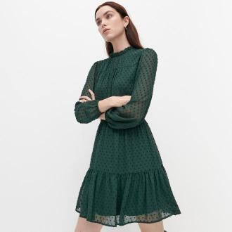 Reserved - Sukienka z tkaniny plumeti - Khaki