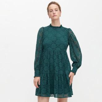 Reserved - Ażurowa sukienka ze stójką - Turkusowy
