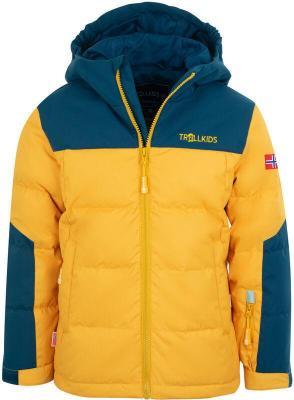 TROLLKIDS Narvik XT Kurtka Dzieci, golden yellow/mystic blue 164 2020 Kurtki narciarskie