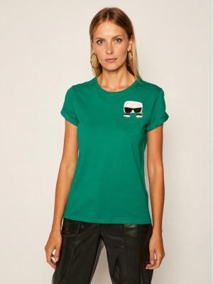 KARL LAGERFELD T-Shirt Ikonik Karl Pocket 205W1701 Zielony Regular Fit