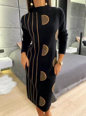 Czarno-Brązowy Sweter Tunika 5224-409-B