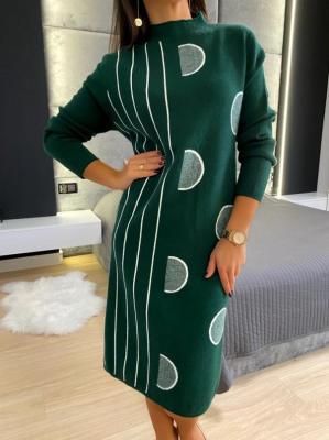 Zielono-Biały Sweter Tunika 5224-409-D