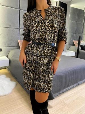 Czarna Orientalna Sukienka z Paskiem 5231-35