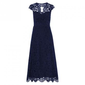 Midi Lace Dress with Open Back