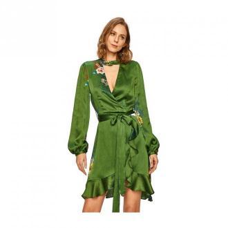 Silvian Heach Long sleeve dress Sukienki Zielony Dorośli Kobiety