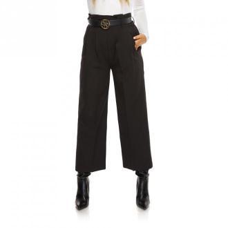 Ooh la la Eleganckie spodnie kuloty z wysokim stanem Spodnie Czarny