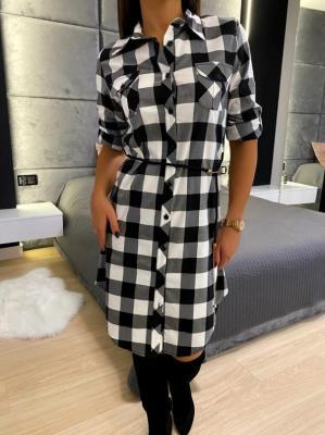 Czarno-Biała Sukienka w Kratę 5223-307-F