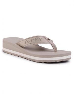 TOMMY HILFIGER Japonki Metallic Mid Wedge Beach Sandal FW0FW04791 Beżowy