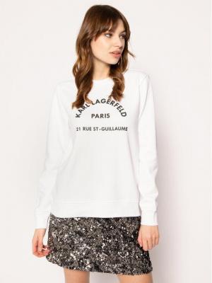 KARL LAGERFELD Bluza Address Logo 201W1801 Biały Regular Fit