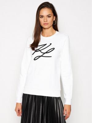 KARL LAGERFELD Bluza Kl Signature 201W1880 Biały Regular Fit