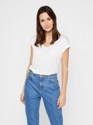 Biała koszulka basic Pieces Billo - XS