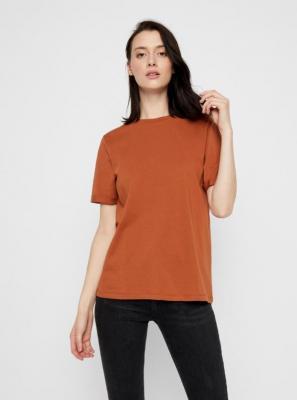 Brązowa koszulka basic Pieces Ria - XS