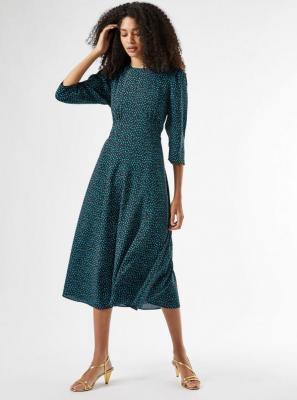 Zielona wzorzysta sukienka midi Dorothy Perkins - XS