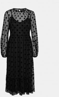 Czarna sukienka z prześwitującymi rękawami VERO MODA Augusta - XS