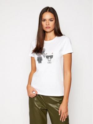KARL LAGERFELD T-Shirt Ikonik Rhinestone 205W1708 Biały Regular Fit