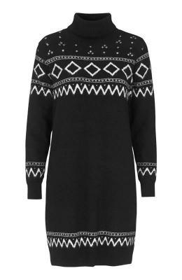 Freequent Dzianinowa sukienka we wzory Monia Czarny we wzory