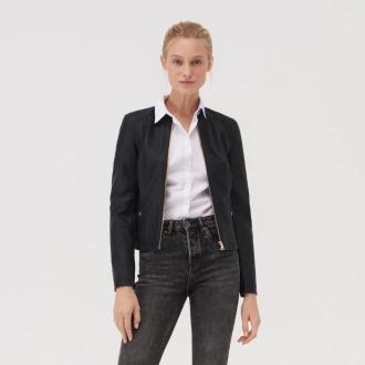 Sinsay - Krótka kurtka z imitacji skóry - Czarny